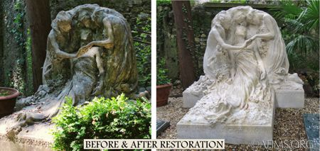 Bistolfi sculpture before and after restoration