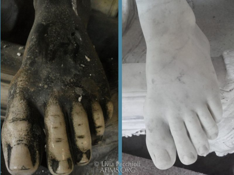 Before and after cleaning the angel's foot
