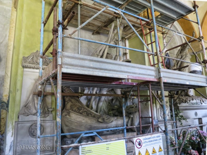 Scaffolding the sculpture for restoration