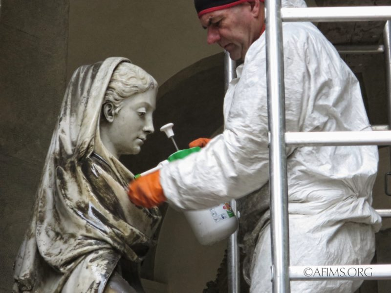Cleaning the Marchese sculpture